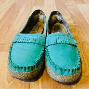 Ugg green Marrah moccasin fringe loafers